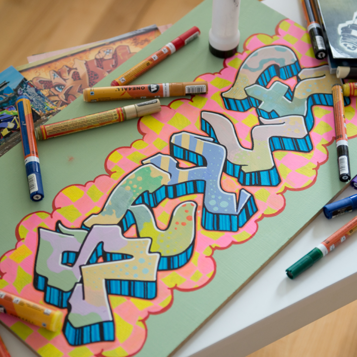 LETTER GRAFFITI WITH A MARKER PEN